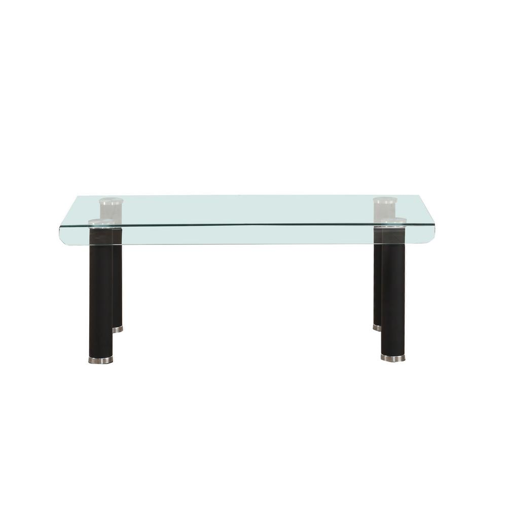 Gordias Coffee Table in Clear Glass and Black