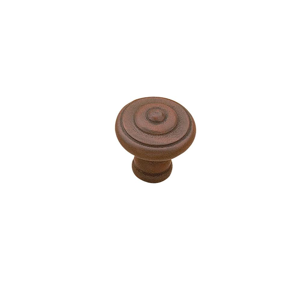 1-3/16 in. (30 mm) Traditional Antique Rust Round Cabinet Knob
