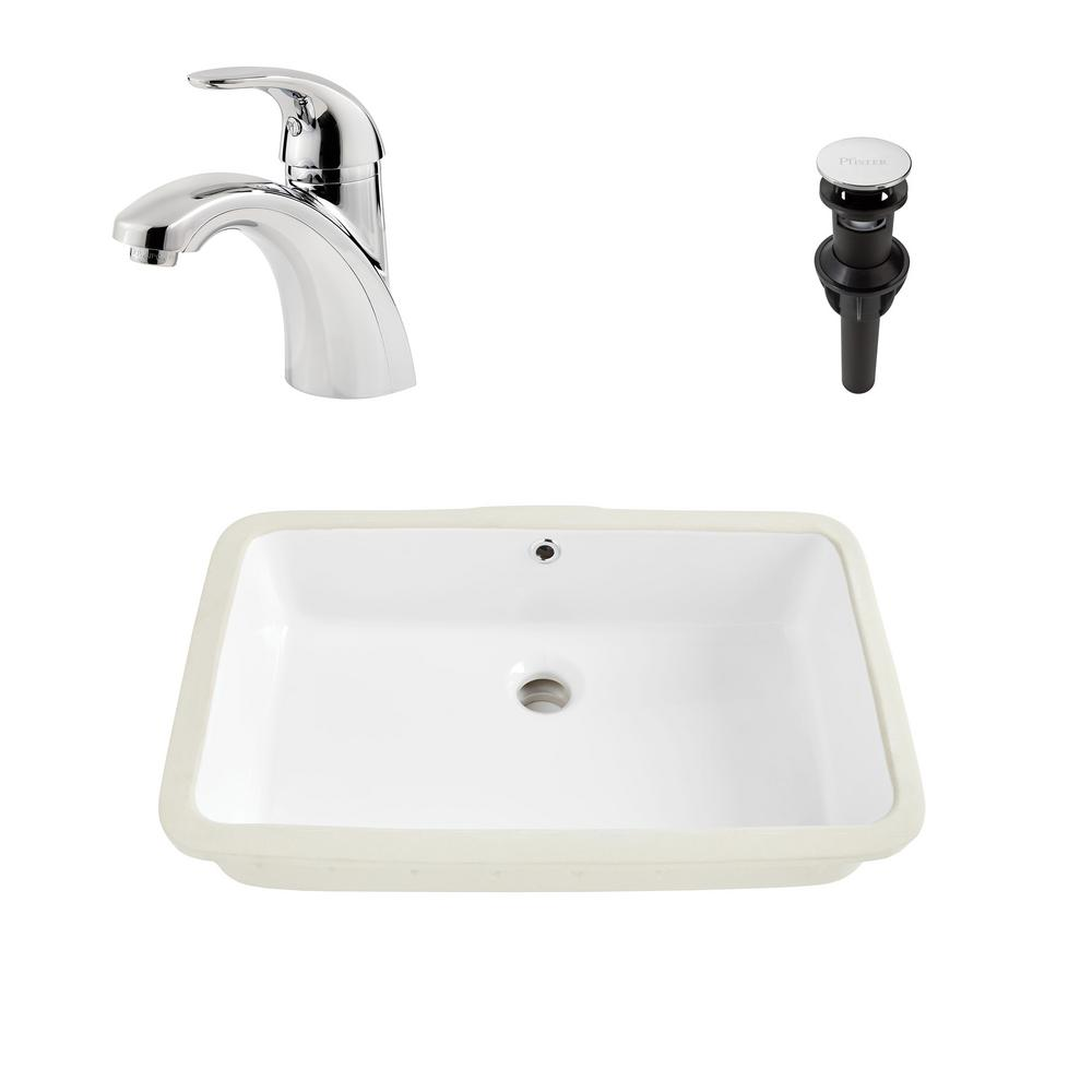 SINKOLOGY Carder All-in-One Undermount 20.6 Bathroom Sink in White and Pfister Parisa Chrome Faucet