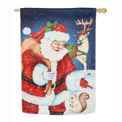 28 in. x 44 in. Santa and Friends House Suede Flag