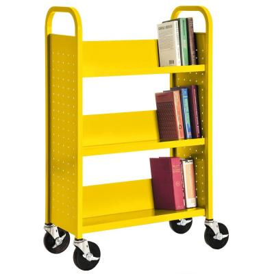 46 in. Yellow Metal 3-shelf Cart Bookcase with Locking