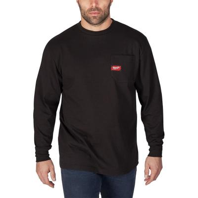 Men's Large Black Heavy Duty Cotton/Polyester Long-Sleeve Pocket T-Shirt