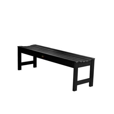 Lehigh 60 in. 2-Person Black Recycled Plastic Outdoor Picnic Bench