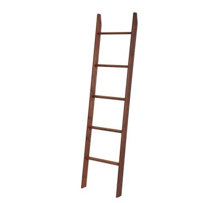 72 in. Carrington Walnut Wood 5-shelf Ladder Bookcase with Open Back
