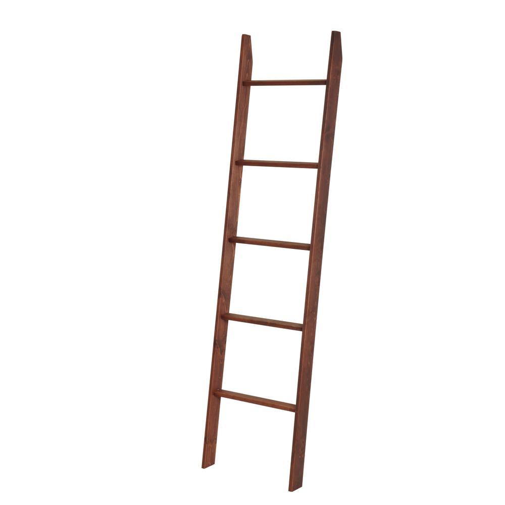 72 in. Carrington Walnut Wood 5-shelf Ladder Bookcase with Open Back