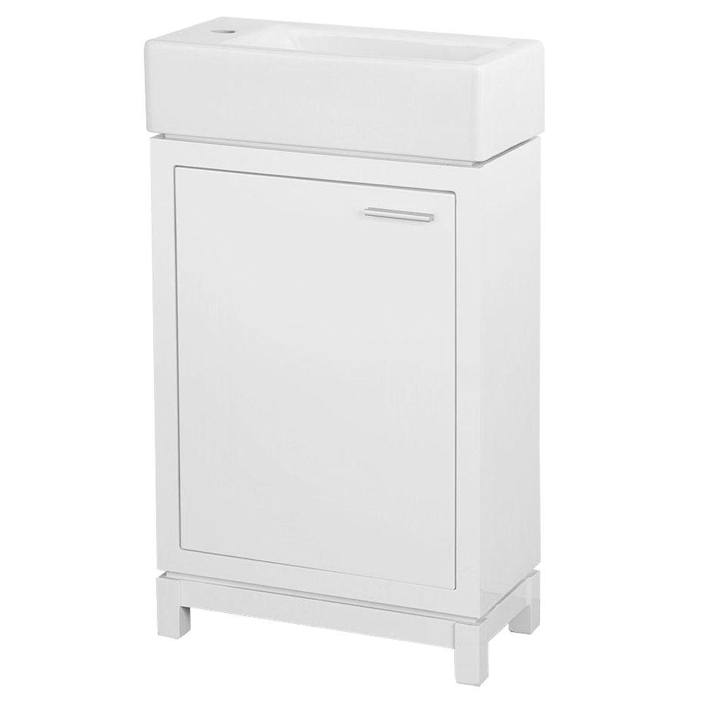 Home Decorators Collection Kole 19-1/2 in. W x 10 in. D Bath Vanity in White with Fireclay Sink in White
