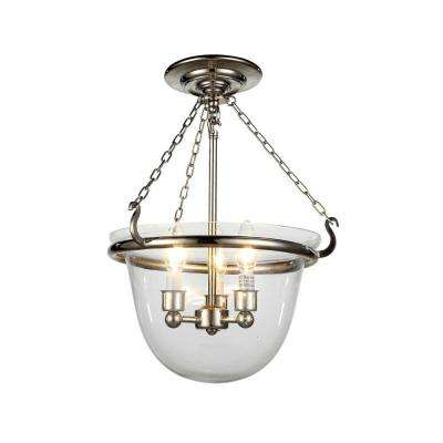 Seneca 3-Light Polished Nickel Flushmount