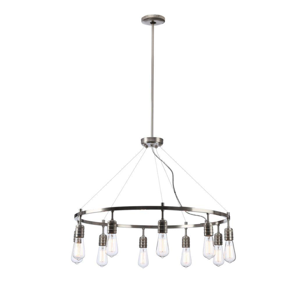 Minka lavery tilbury 6 light polished nickel chandelier 4986 613 downtown edison 10 light brushed nickel chandelier arubaitofo Choice Image