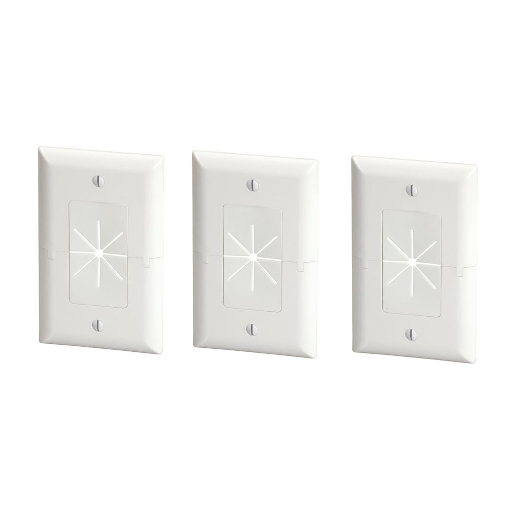 Split Plate with Flexible Opening, White (3-Pack)