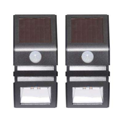 Solar Pearl Gray Motion Activated Integrated LED Deck Light (2-Pack)