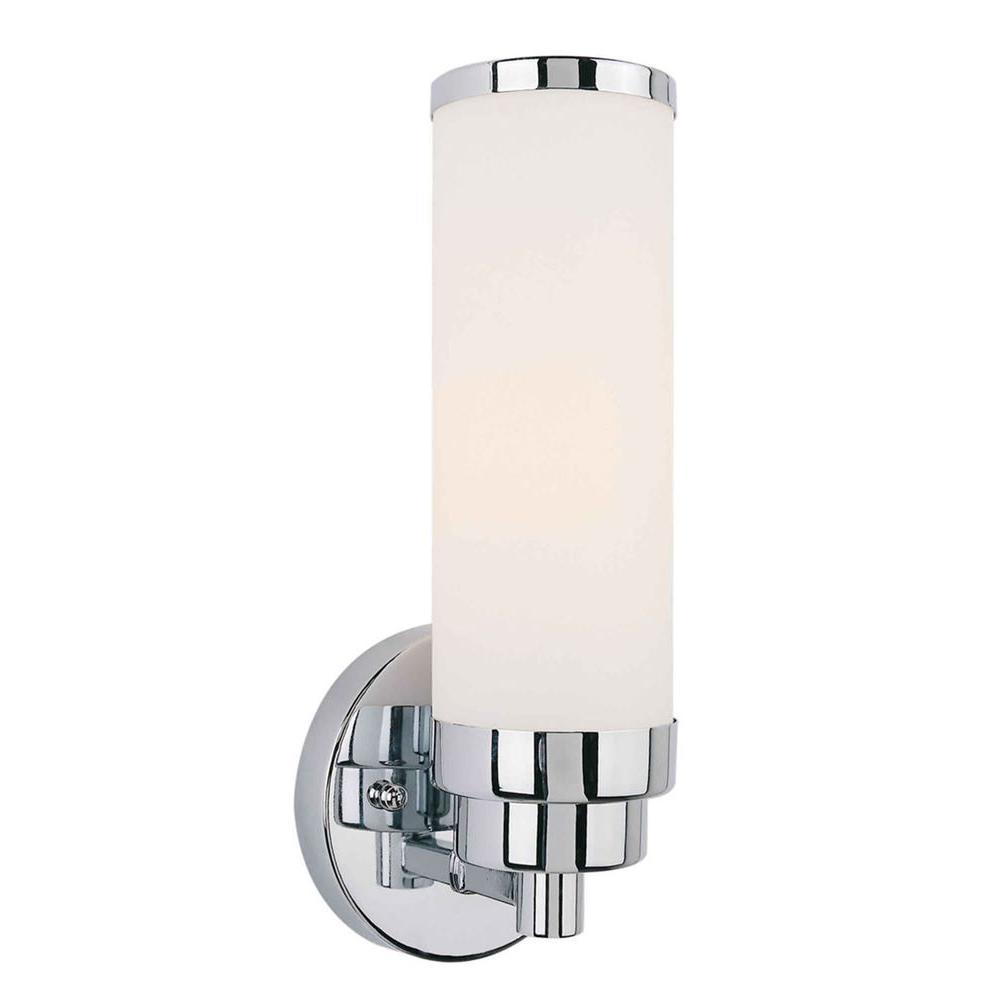 Mattia 1-Light Chrome Sconce with Satin Opal Glass