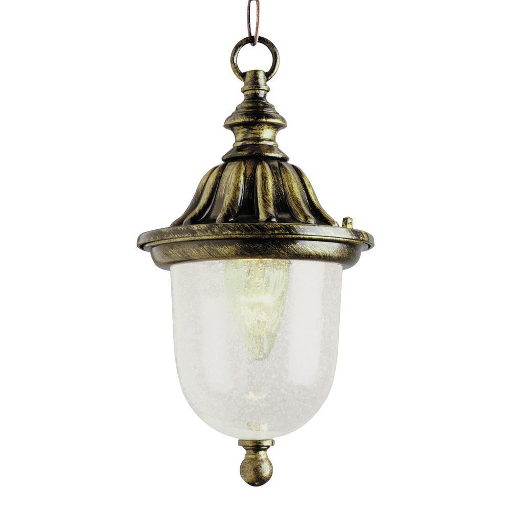 Vincent 1-Light Black Gold Hanging Lantern