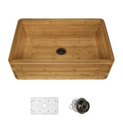 Farmhouse Apron Front Bamboo 30 in. Single Bowl Kitchen Sink