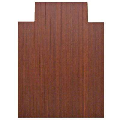 Standard 5 mm Dark Brown Mahogany 36 in. x 48 in. Bamboo Roll-Up Office Chair Mat with Lip