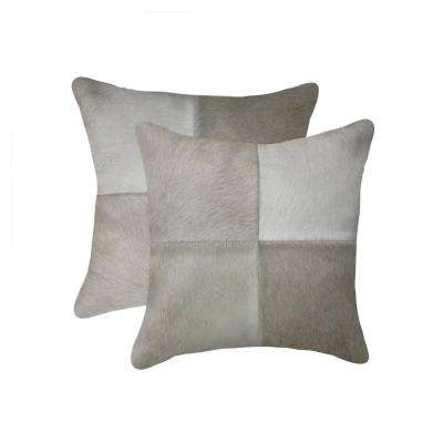 Torino Quattro Cowhide 18 in. x 18 in. Grey Pillow (Set of 2)