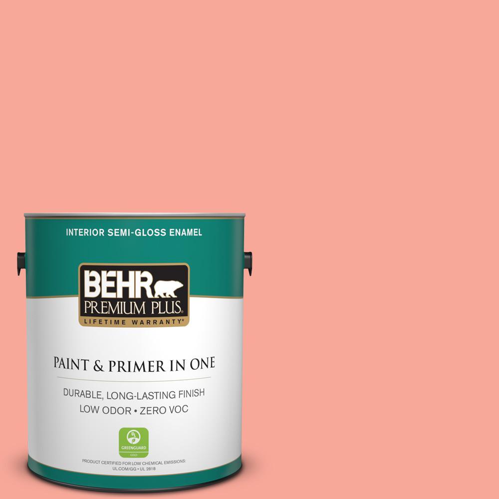 BEHR Premium Plus 1-gal. #190B-4 Duchess Rose Zero VOC Semi-Gloss Enamel Interior Paint