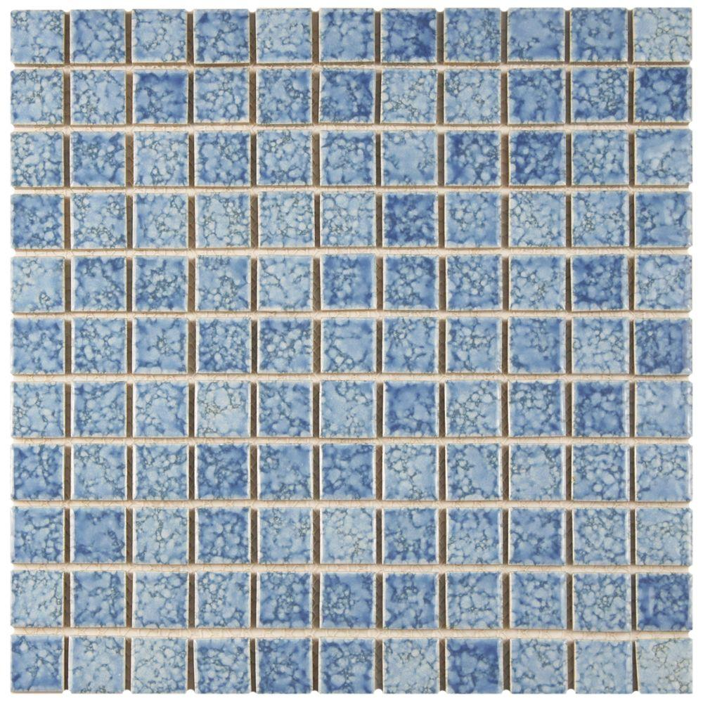 blue tiles. Merola Tile Fountain Square Blue 12 In. X 5 Mm Porcelain Tiles