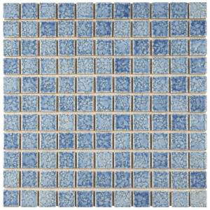 Fountain Square Blue 12 in. x 12 in. Porcelain Mosaic Tile (10.2 sq. ft. / Case)