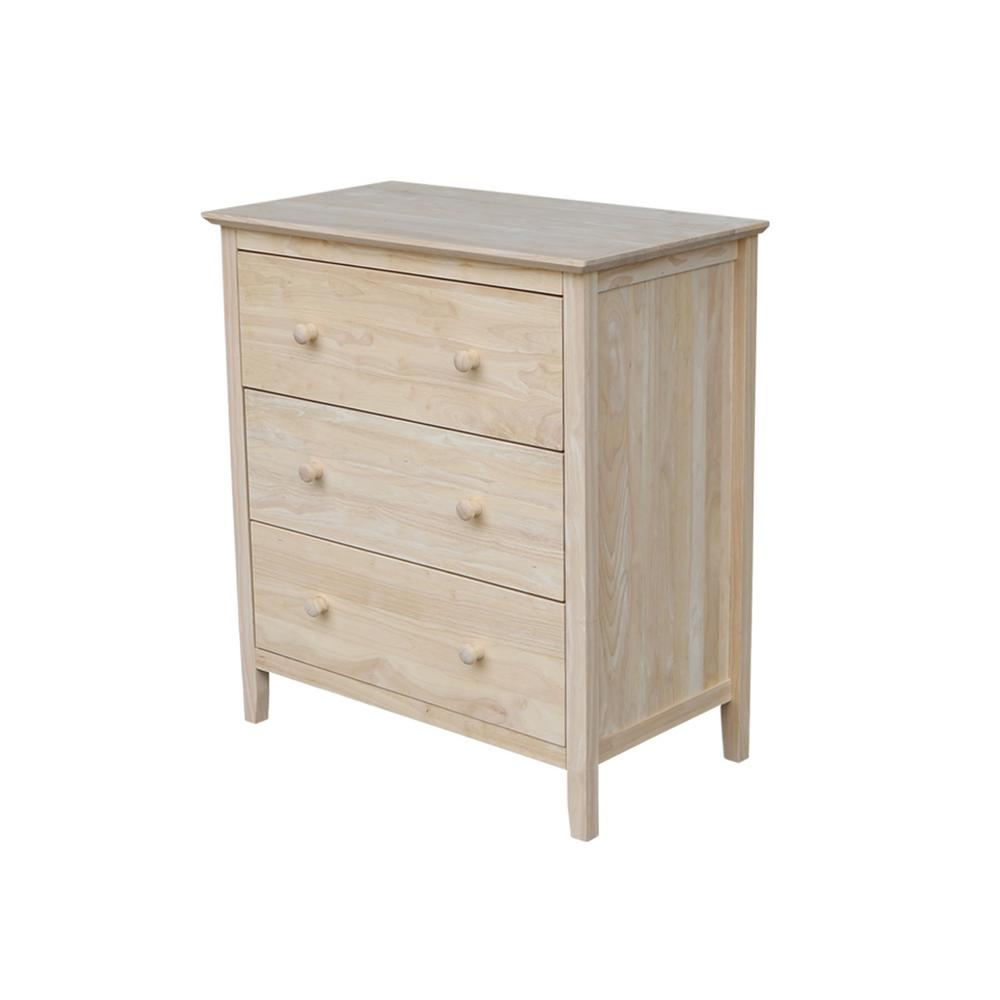 International Concepts Brooklyn 3-Drawer Unfinished Wood Chest-BD ...