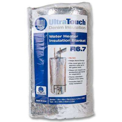 48 in. x 75 in. Denim Insulation Hot Water Heater Blanket