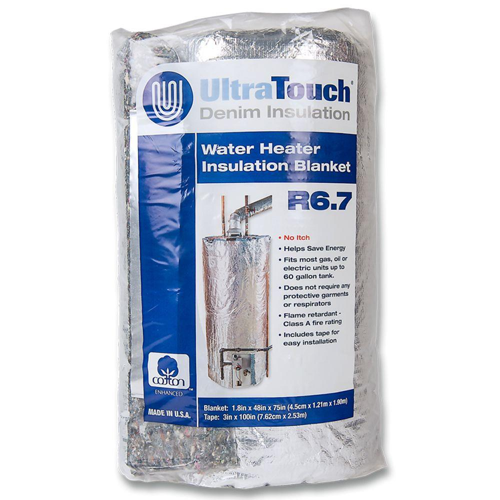 UltraTouch 48 in  x 75 in  Denim Insulation Hot Water Heater Blanket