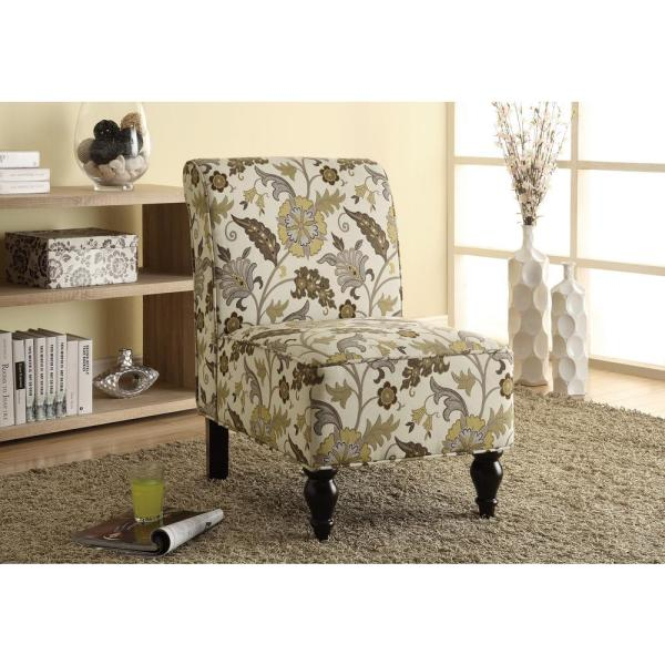 Monarch Brown and Gold Fabric Accent Chair