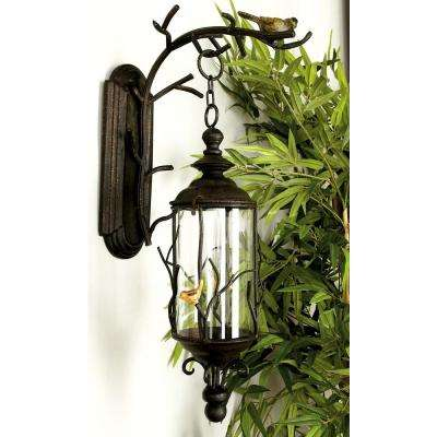 Natural Reflections Iron Branches Hanging Candle Lantern with Bird Sculpture
