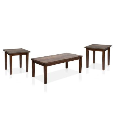 Rugge 3-Piece Dark Walnut Coffee Table Set