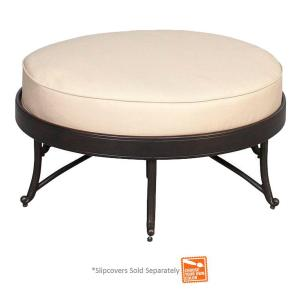Edington Round Patio Ottoman with Cushions Included, Choose Your Own Color