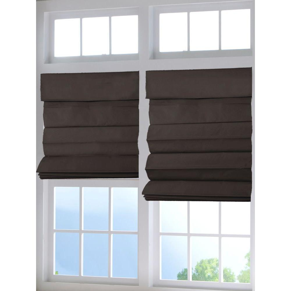 Chocolate Cordless Fabric Roman Shade - 27 in. W x 64