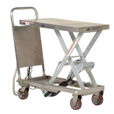 500 lb. Capacity Partially Stainless Steel Linear Actuated Elevating Cart