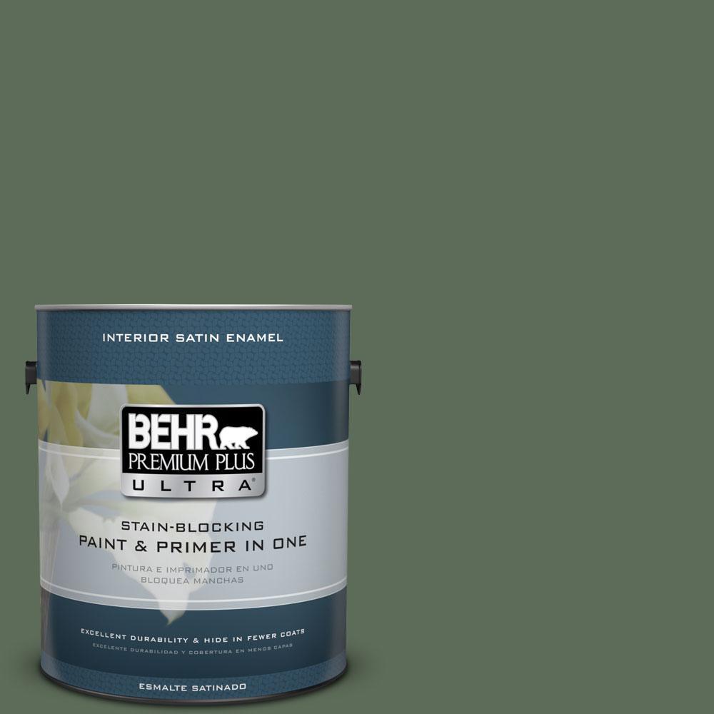 BEHR Premium Plus Ultra 1-Gal. #PPU11-2 Shallot Bulb Satin Enamel Interior Paint