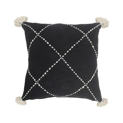 Geometric Black / White Crossed Circle Tasseled Cozy Poly-Fill 20 in. x 20 in. Throw Pillow