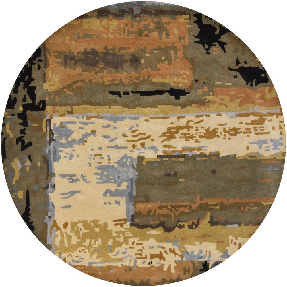 Nirvana Blue/Beige/Brown/Green/Black 7 ft. 9 in. Indoor Round Area Rug