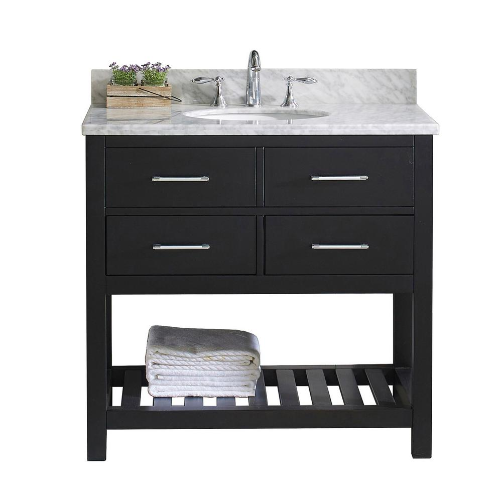 Caroline Estate 36 in. W Bath Vanity in Espresso with Marble