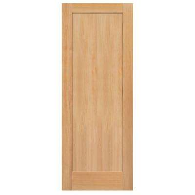 40 in. x 84 in. Unfinished Fir Veneer 1-Panel Shaker Flat Panel Solid Wood Interior Barn Door Slab