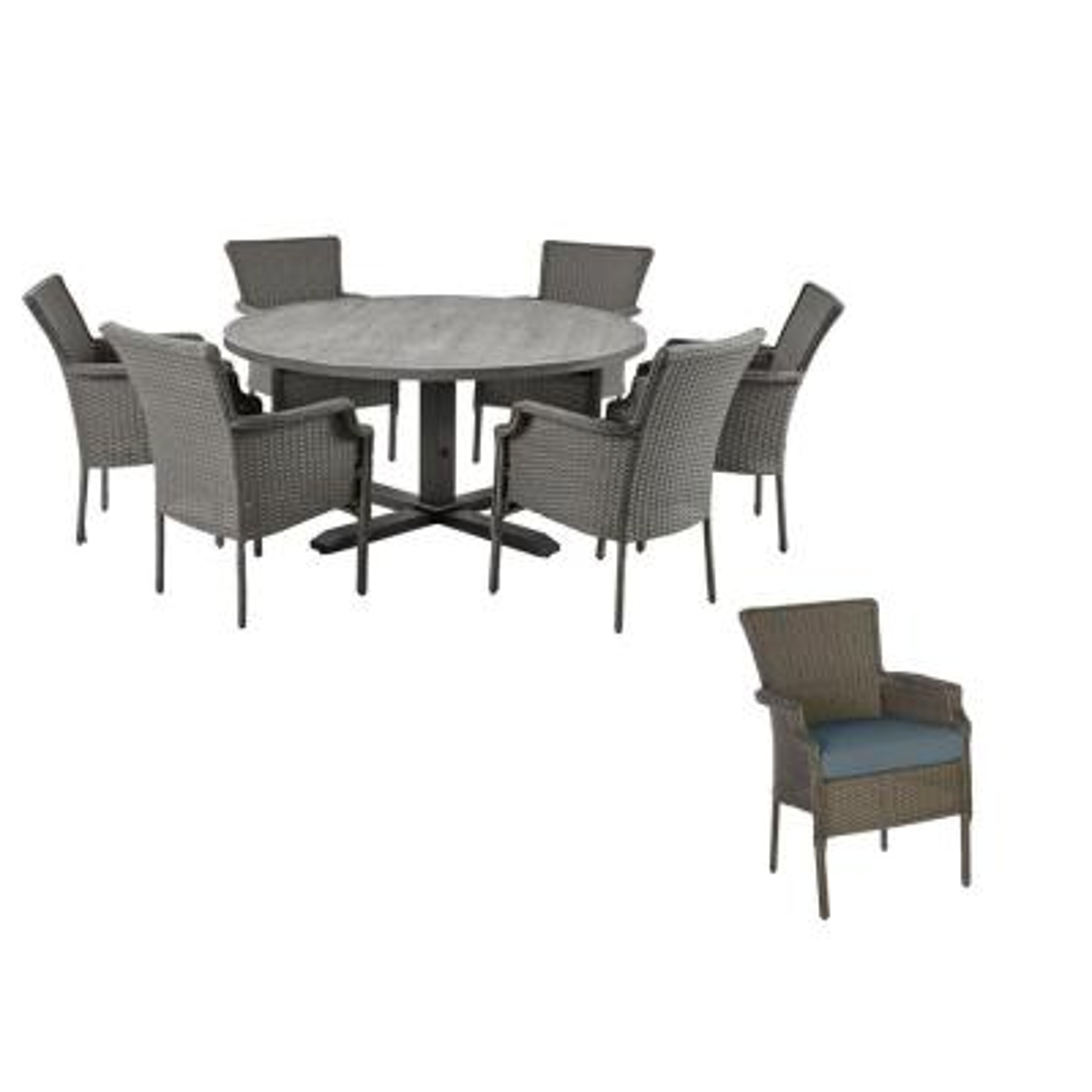 Grayson 7-Piece Ash Gray Wicker Outdoor Patio Dining Set with Sunbrella Denim Blue Cushions