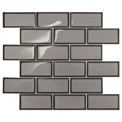 Premier Accents Smoke Gray Brick Joint 11 in. x 13 in. x 8 mm Glass Mosaic Wall Tile (0.956 sq. ft. / piece)