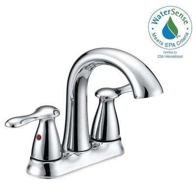 Asher 4 in. Centerset 2-Handle Bathroom Faucet in Chrome with Pop-Up Assembly and Deck Plate