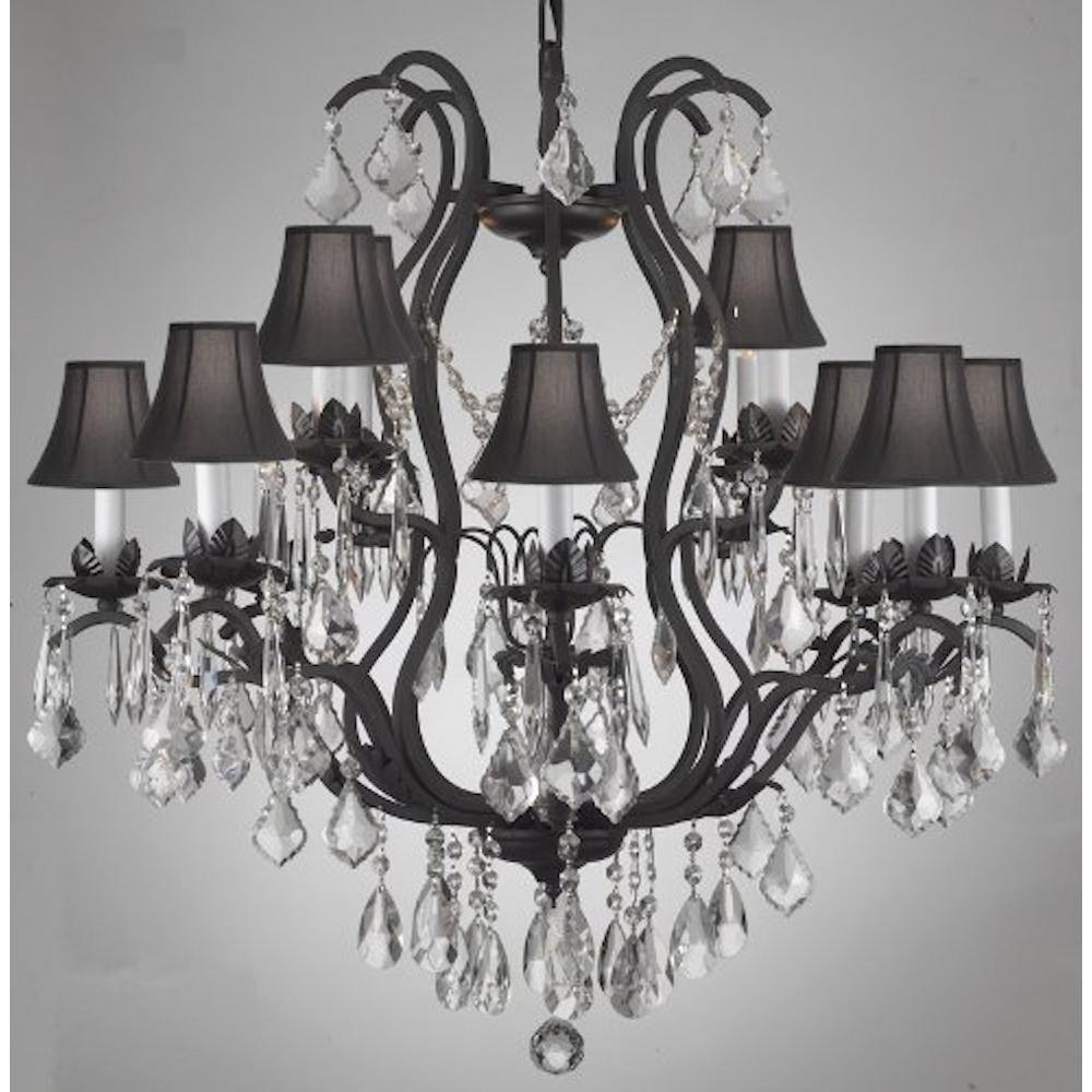 Versailles 12 Light Wrought Iron And Crystal Chandelier With Black Shades