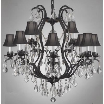 Versailles 12-Light Wrought Iron and Crystal Chandelier with Black Shades