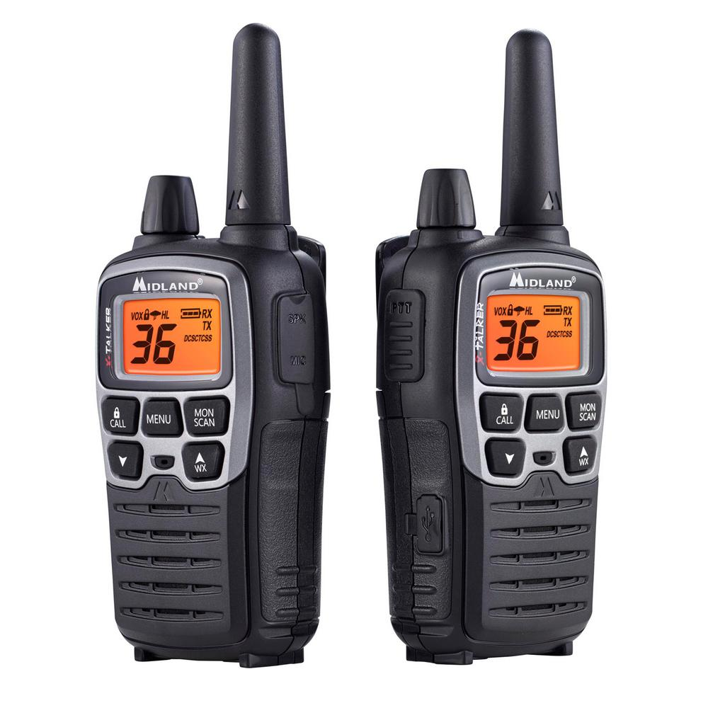 midland x talker 38 mile 2 way radios with dtc and usb charger in black t71vp3 the home depot. Black Bedroom Furniture Sets. Home Design Ideas