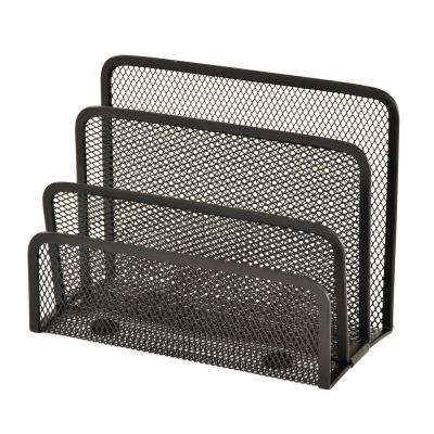 7 in. W x 3.25 in. D x 5.25 in. H Wire Mesh Letter Holder/Sorter, Black