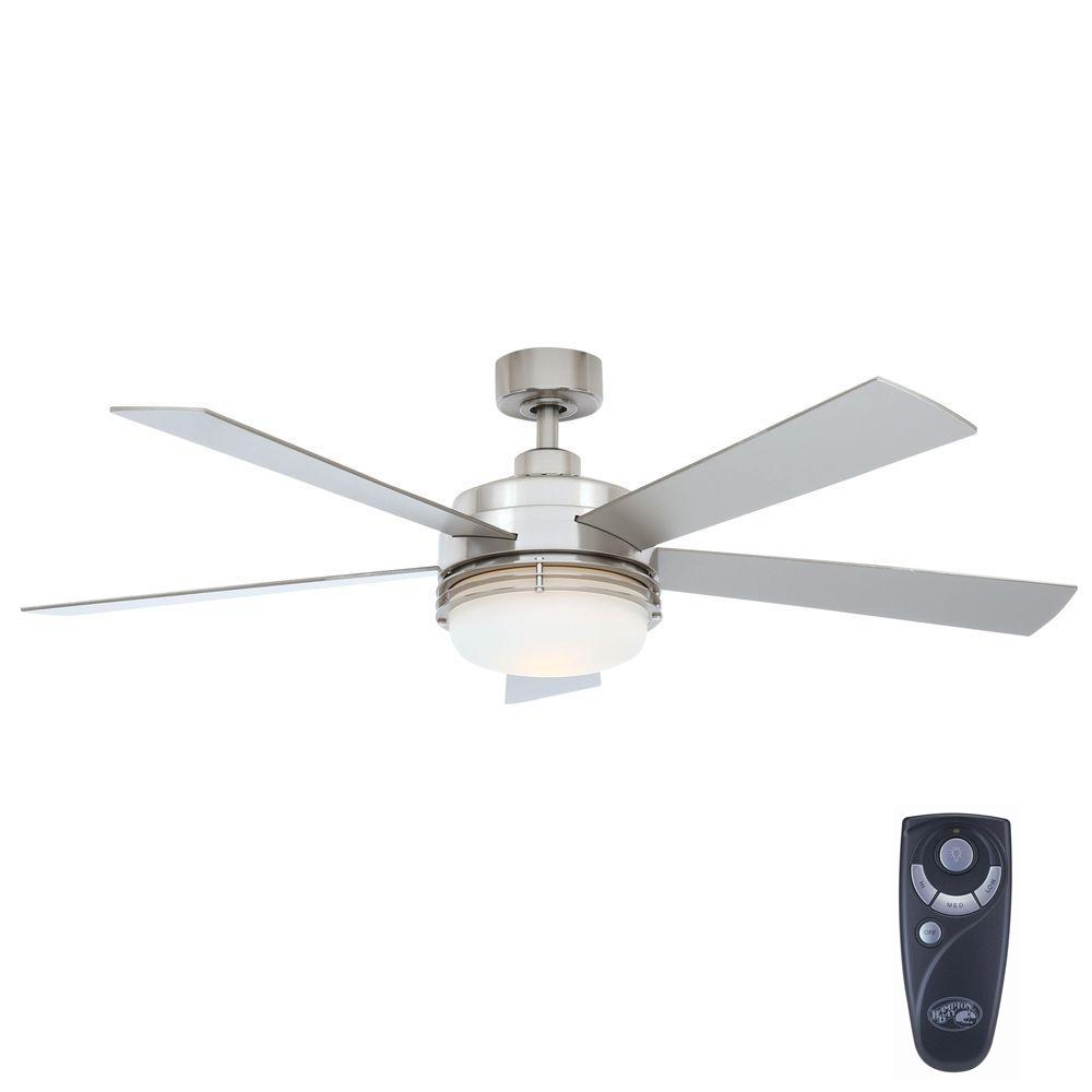 Hampton Bay Sussex II 52 in. Indoor Brushed Nickel Ceiling Fan with Light Kit and Remote Control
