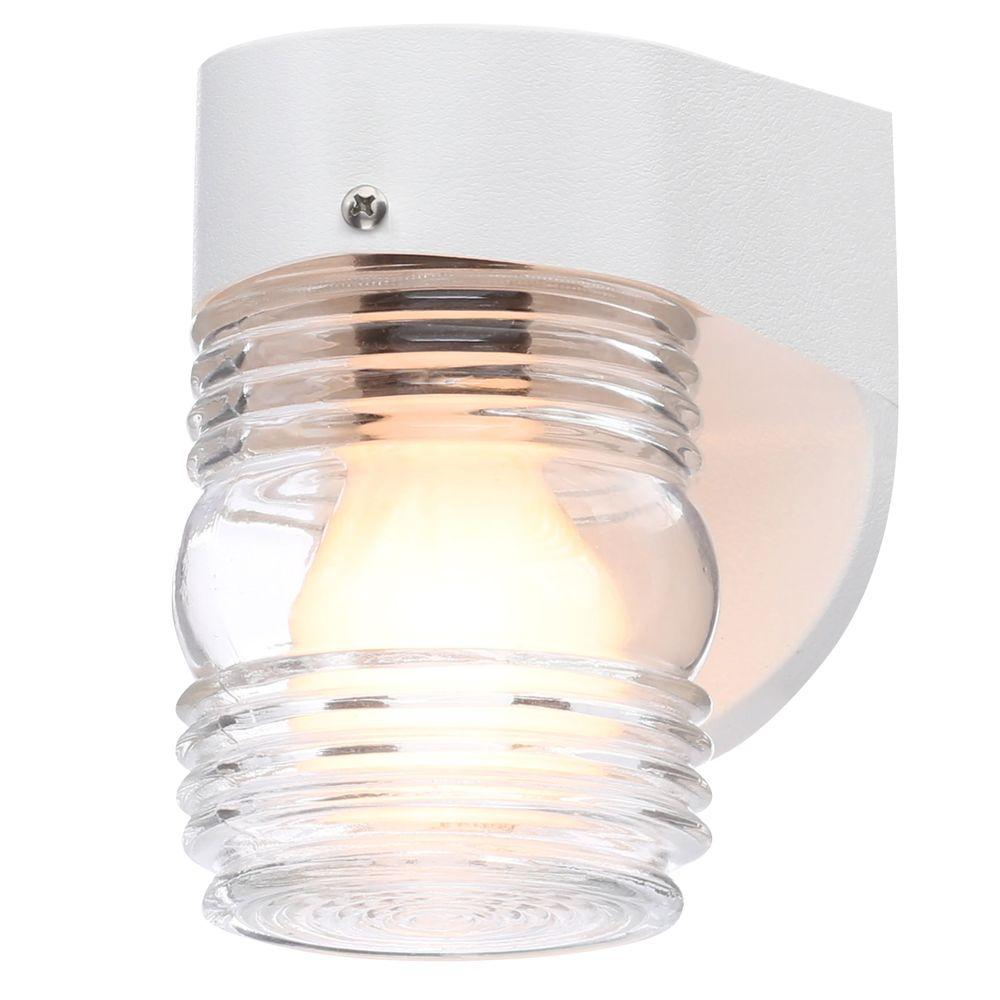 Newport coastal white outdoor incandescent wall mount coastal newport coastal white outdoor incandescent wall mount coastal jelly jar 7791 30w the home depot arubaitofo Image collections