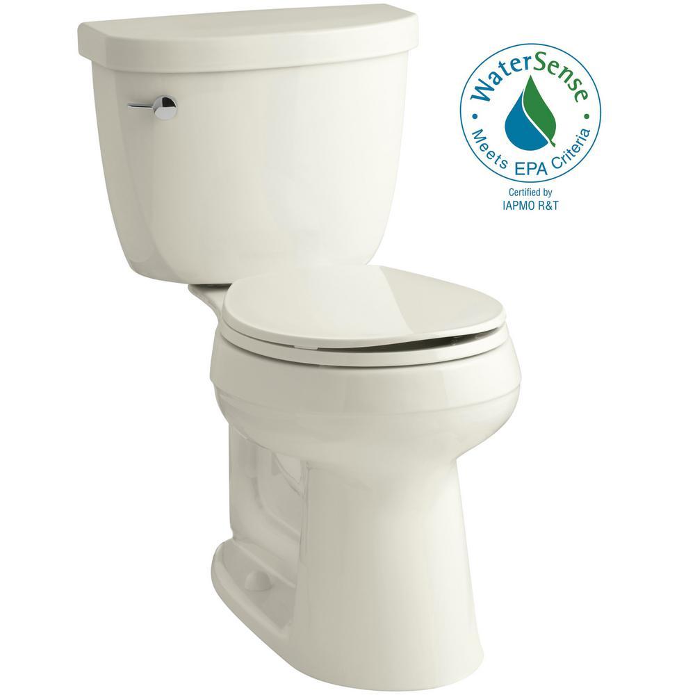 Cimarron Comfort Height 2-Piece 1.28 GPF Round Toilet in Biscuit with Cachet Q3 Toilet Seat