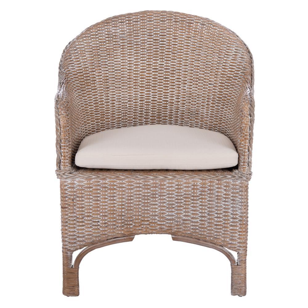 Antonia Gray White Wash Arm Chair