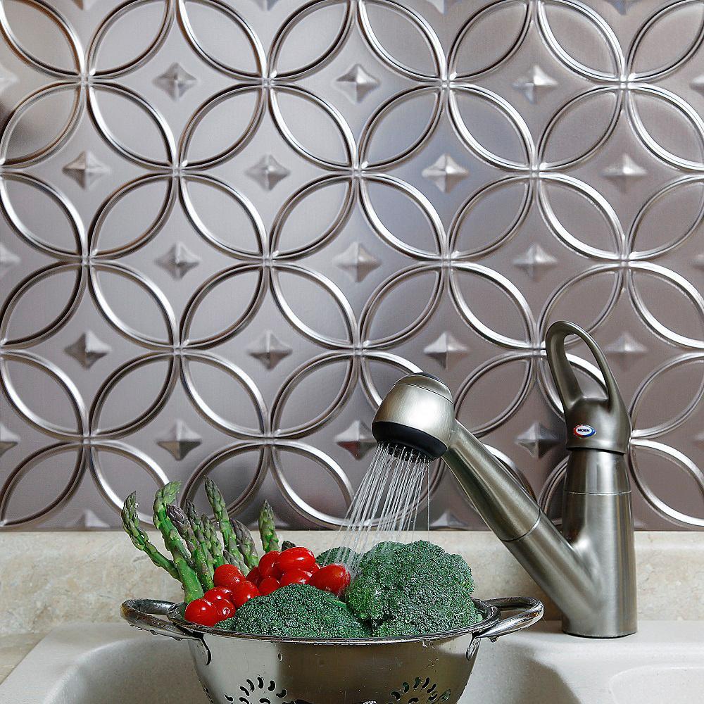 Fasade 24 in. x 18 in. Rings PVC Decorative Backsplash Panel in Brushed Nickel