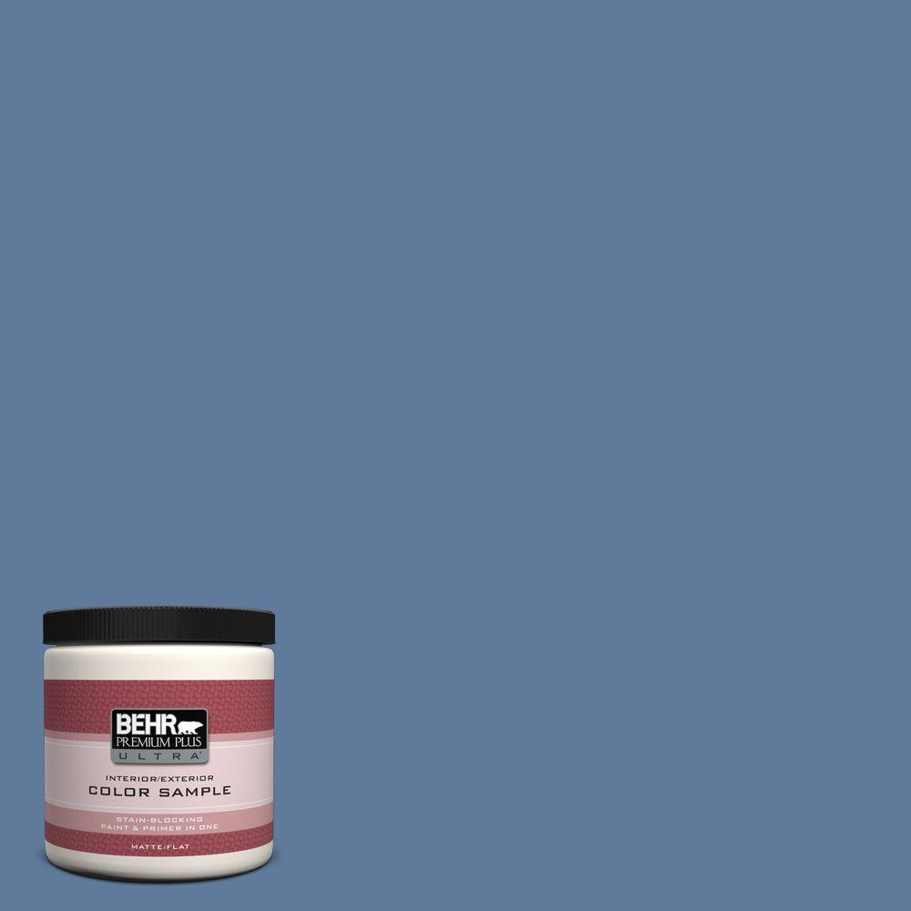 BEHR Premium Plus Ultra 8 oz. #PPU14-2 Glass Sapphire Flat Interior/Exterior Paint and Primer in One Sample