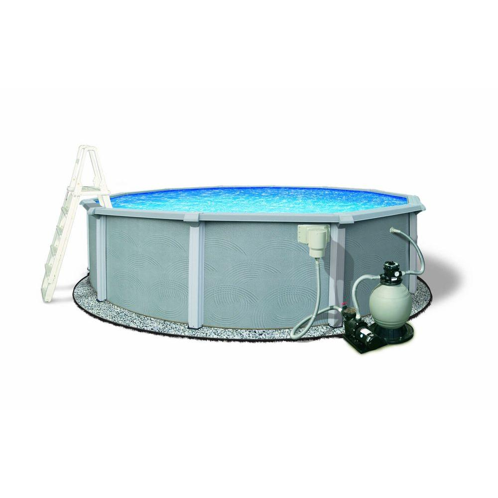 Zanzibar 30 ft. Round 54 in. Deep 8 in. Top Rail Metal Wall Swimming Pool Package